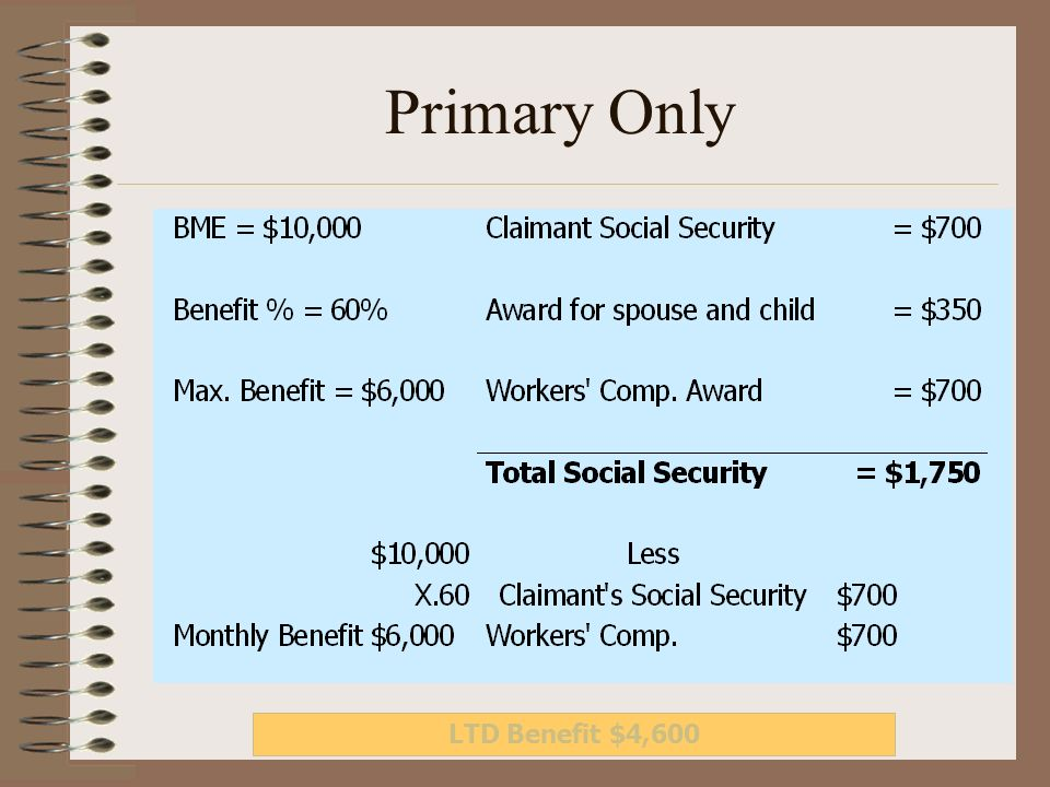 Primary Only LTD Benefit $4,600