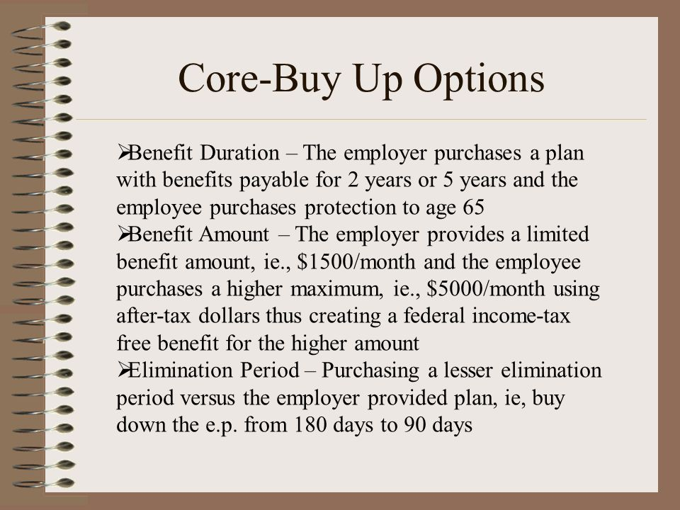Core-Buy Up Options