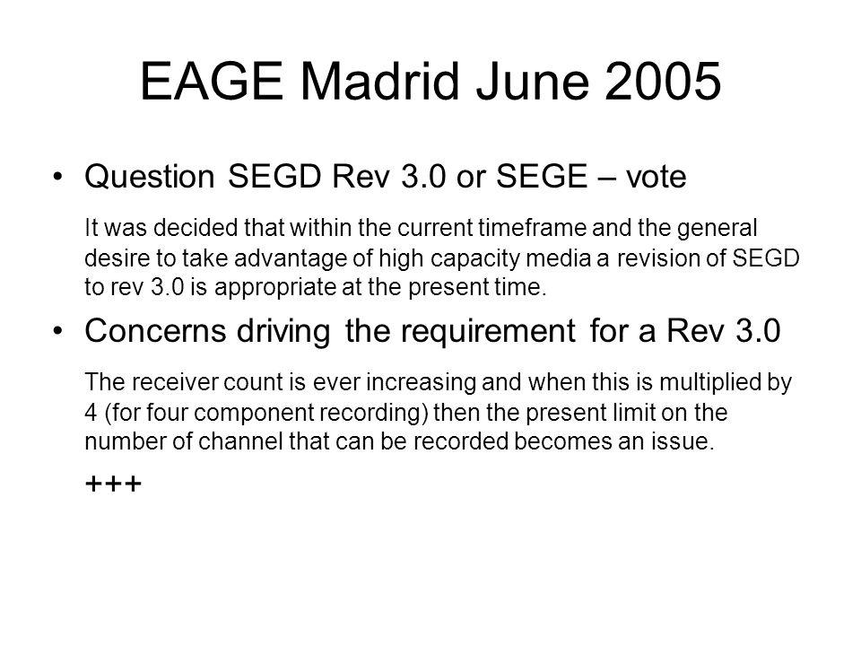 EAGE Madrid June 2005 Question SEGD Rev 3.0 or SEGE – vote