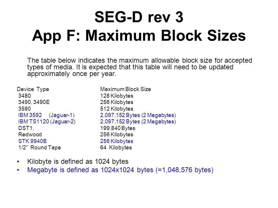 SEG-D rev 3 App F: Maximum Block Sizes