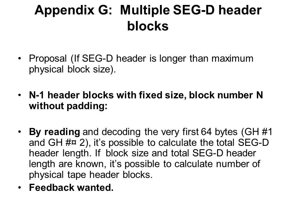 Appendix G: Multiple SEG-D header blocks