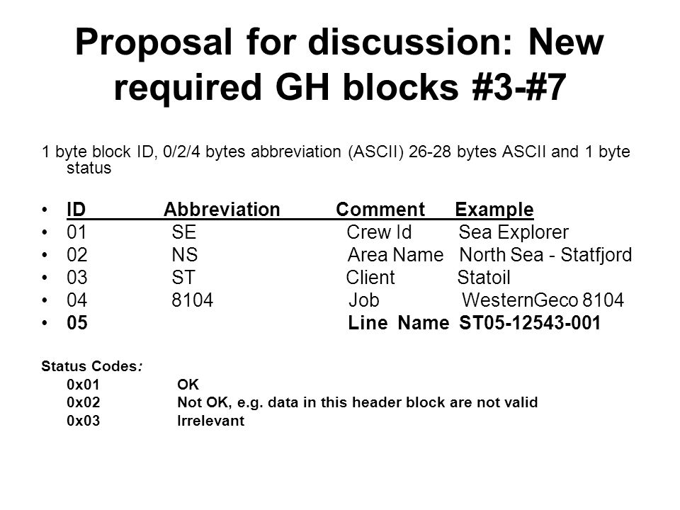 Proposal for discussion: New required GH blocks #3-#7