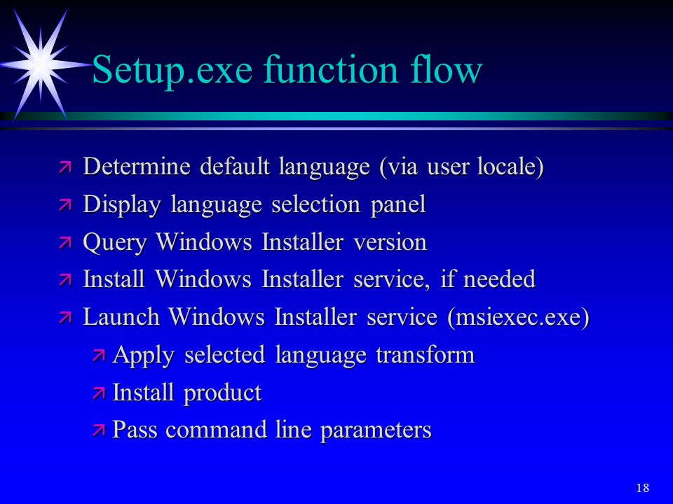 Setup.exe function flow