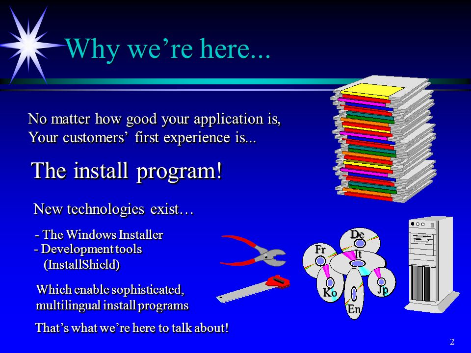 Why we're here... The install program!