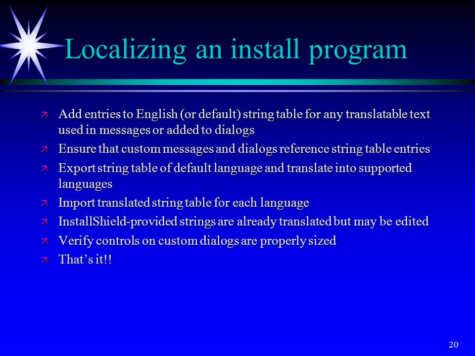 Localizing an install program