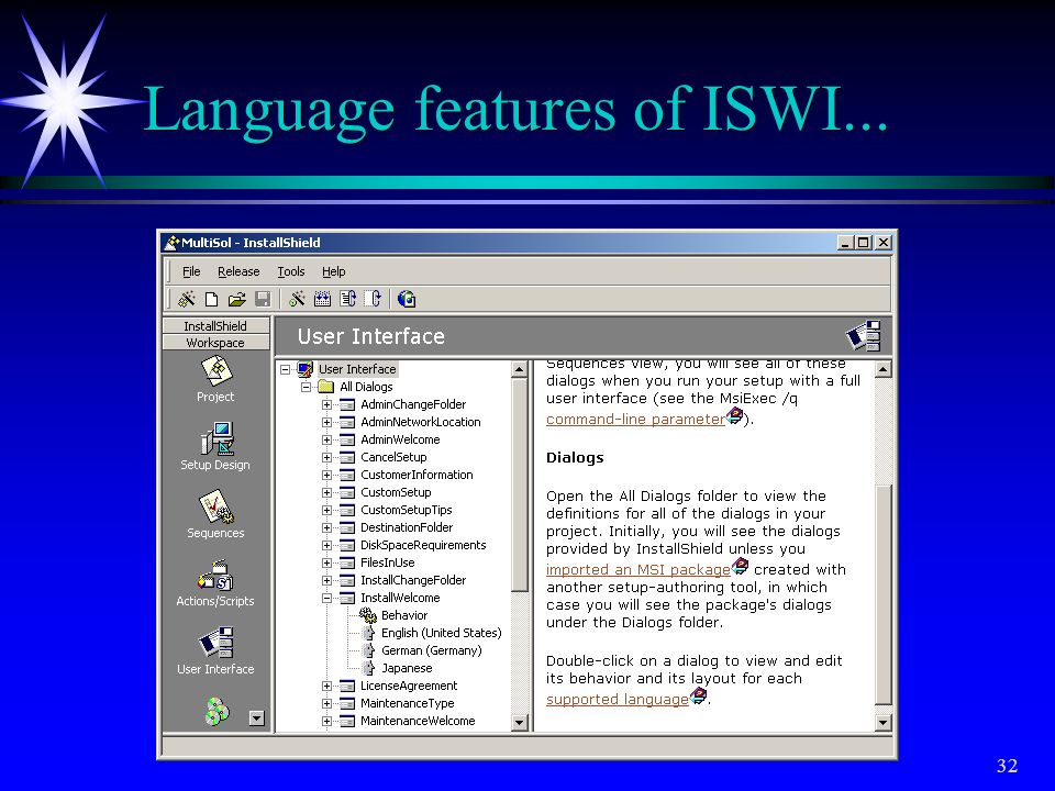 Language features of ISWI...