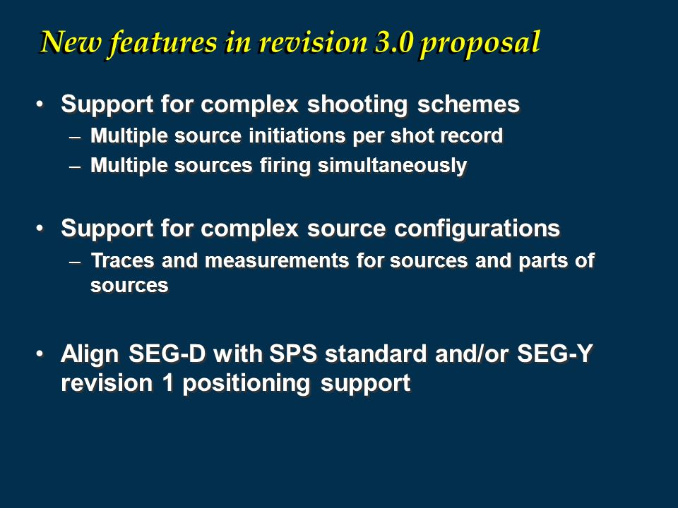 New features in revision 3.0 proposal