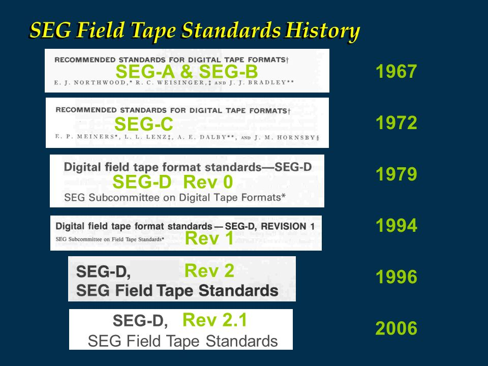 SEG Field Tape Standards
