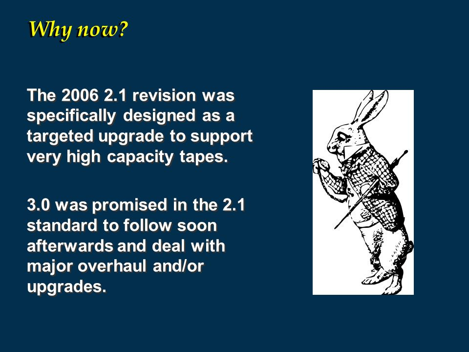 Why now The revision was specifically designed as a targeted upgrade to support very high capacity tapes.