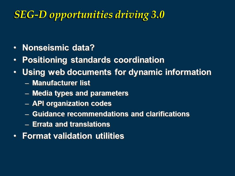 SEG-D opportunities driving 3.0