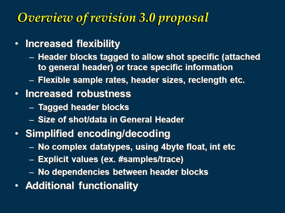 Overview of revision 3.0 proposal