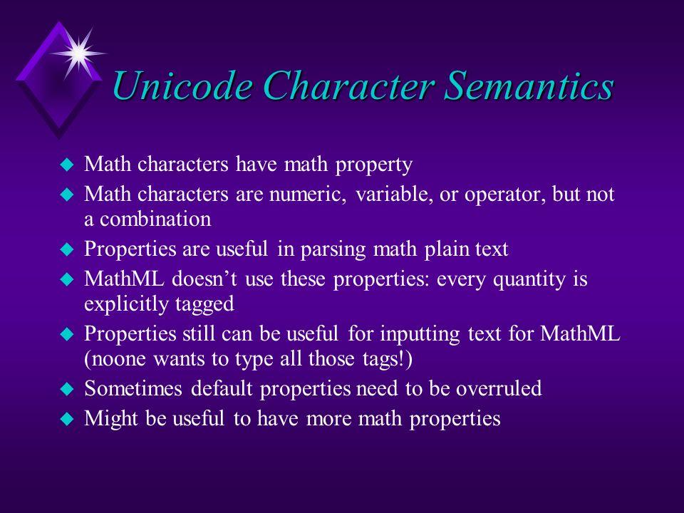 Unicode Character Semantics