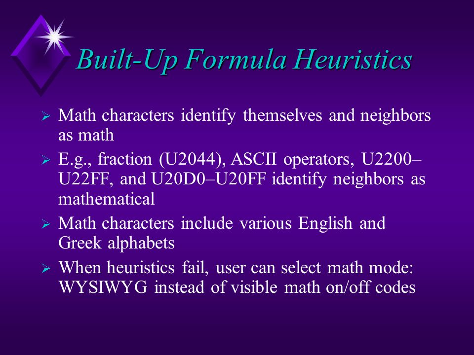 Built-Up Formula Heuristics
