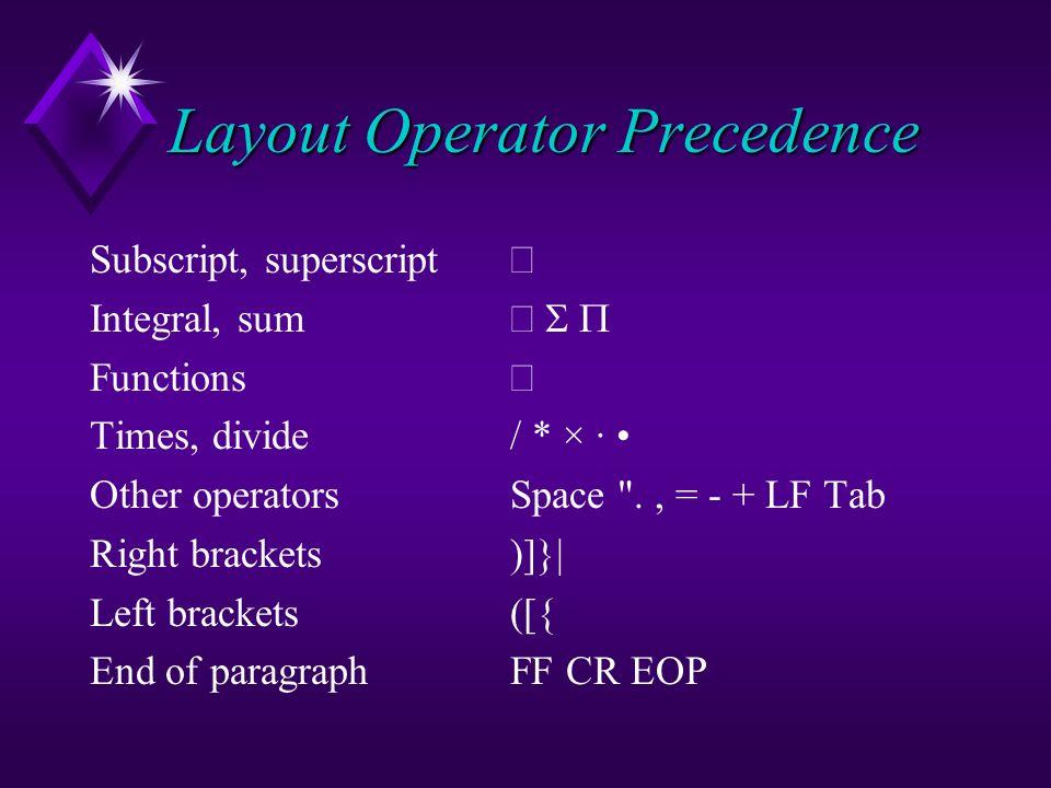Layout Operator Precedence