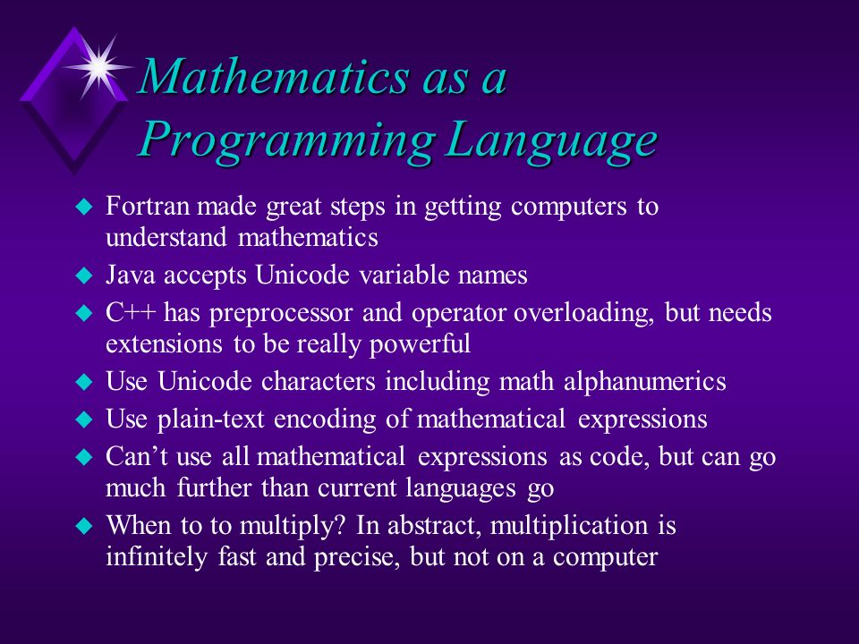 Mathematics as a Programming Language