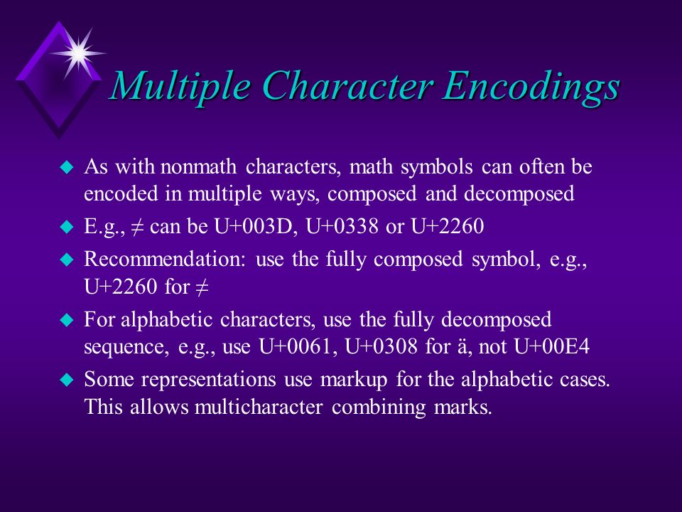 Multiple Character Encodings