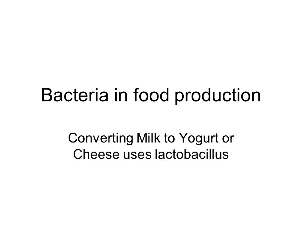 Bacteria in food production