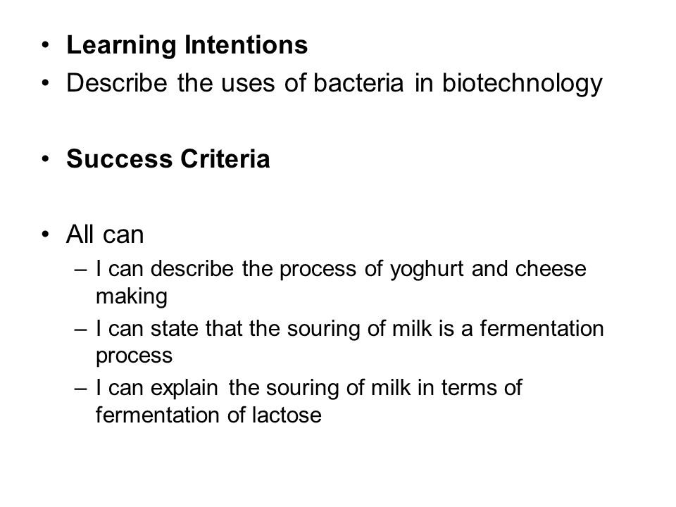Describe the uses of bacteria in biotechnology Success Criteria