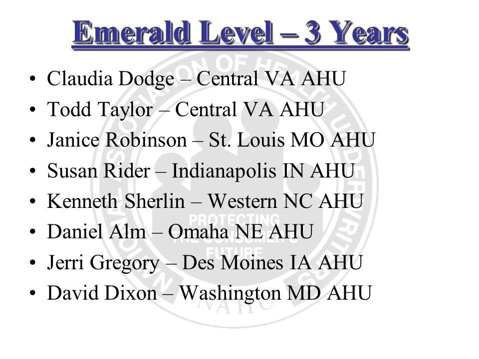 Emerald Level – 3 Years Claudia Dodge – Central VA AHU