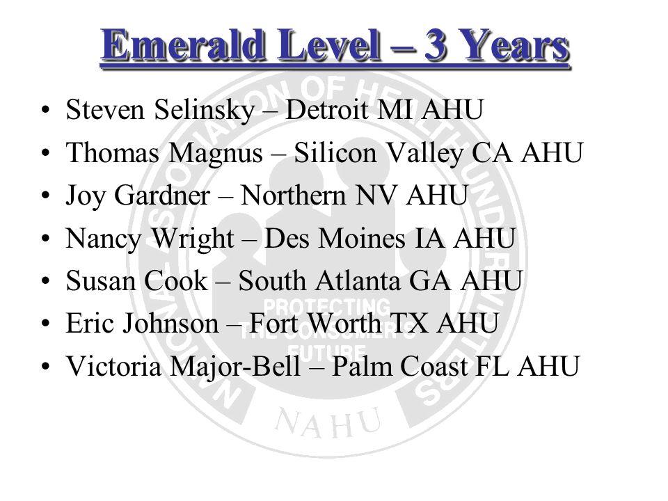 Emerald Level – 3 Years Steven Selinsky – Detroit MI AHU