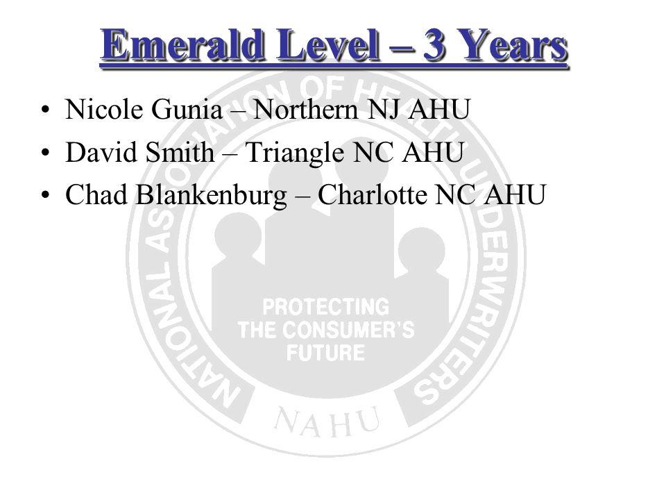 Emerald Level – 3 Years Nicole Gunia – Northern NJ AHU