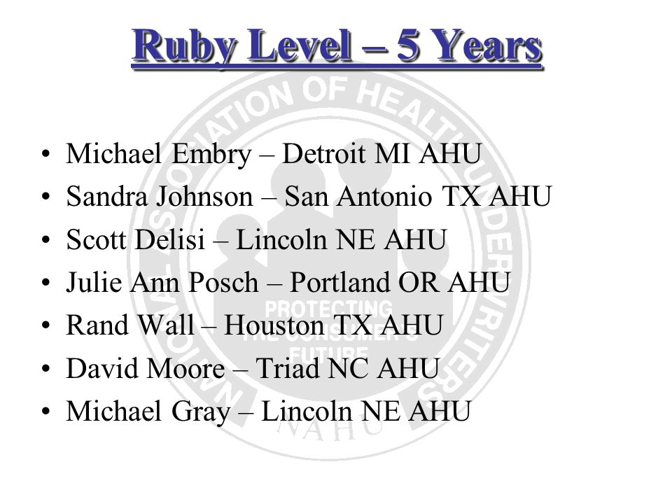 Ruby Level – 5 Years Michael Embry – Detroit MI AHU