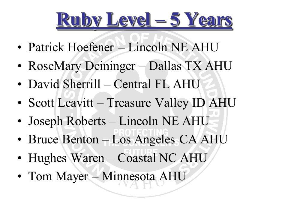 Ruby Level – 5 Years Patrick Hoefener – Lincoln NE AHU