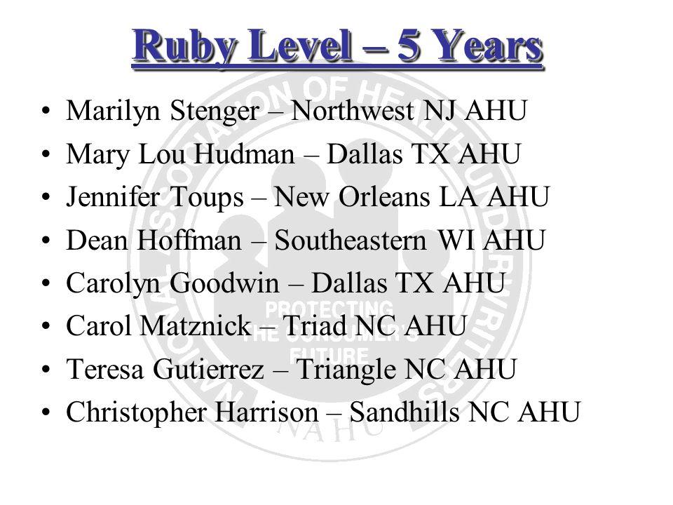 Ruby Level – 5 Years Marilyn Stenger – Northwest NJ AHU