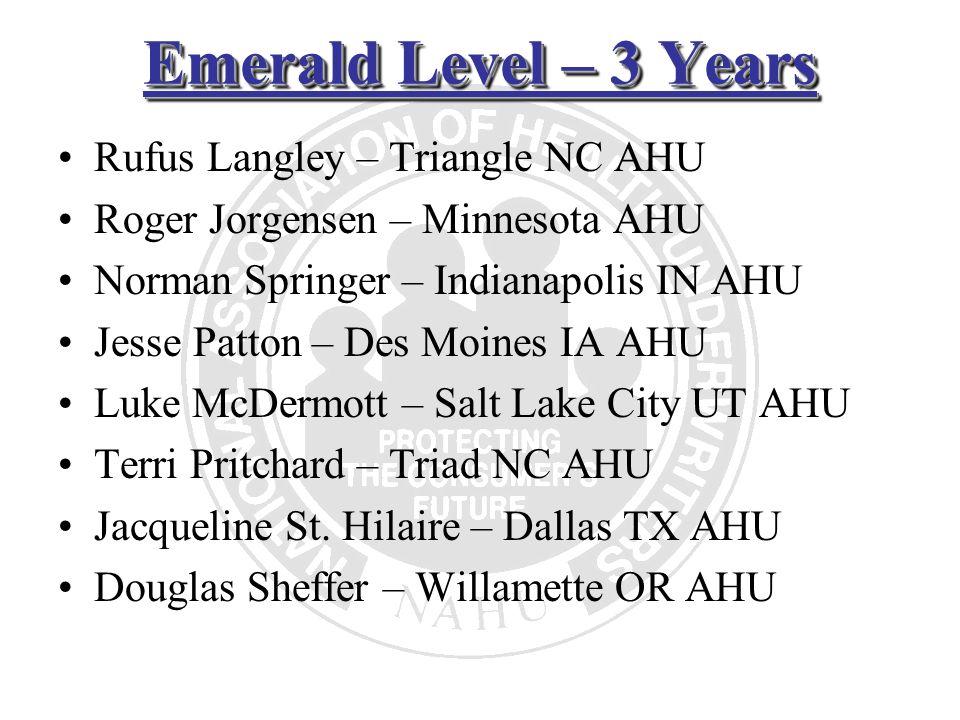 Emerald Level – 3 Years Rufus Langley – Triangle NC AHU