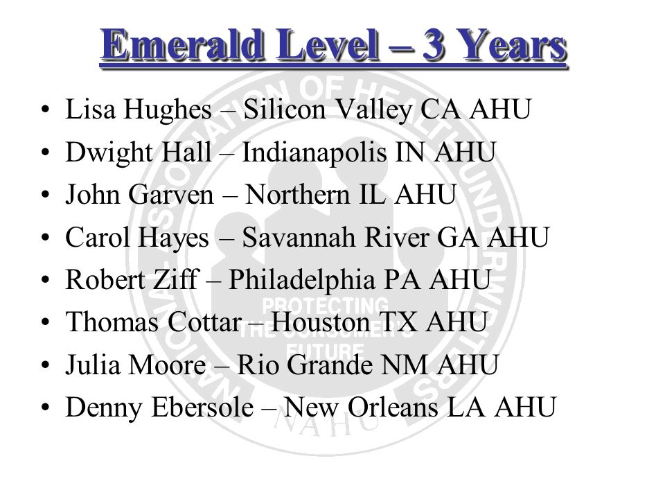Emerald Level – 3 Years Lisa Hughes – Silicon Valley CA AHU