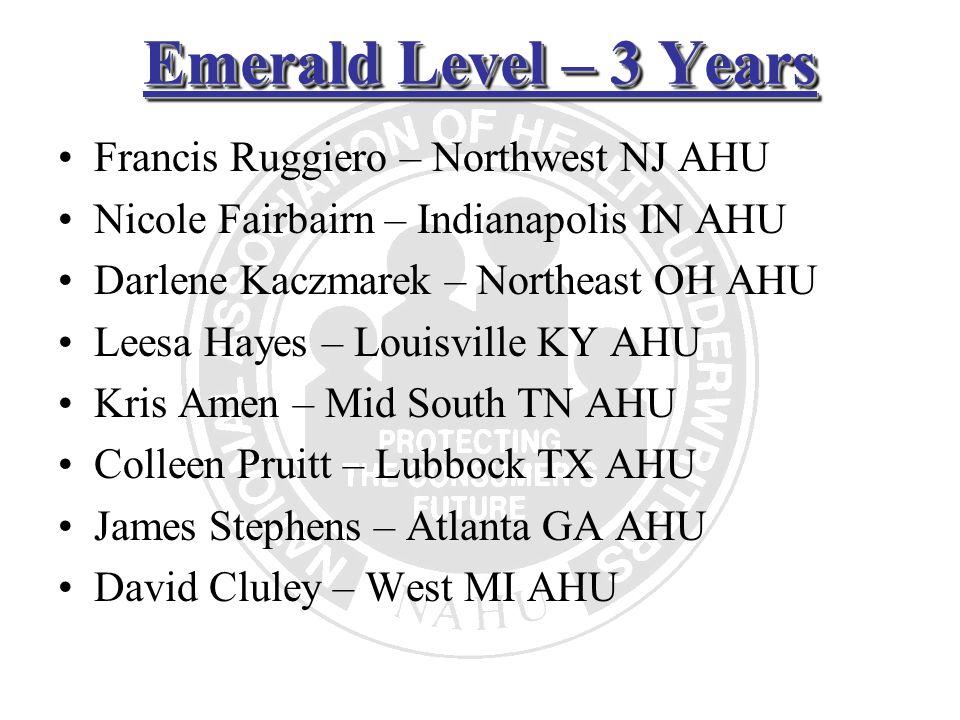 Emerald Level – 3 Years Francis Ruggiero – Northwest NJ AHU