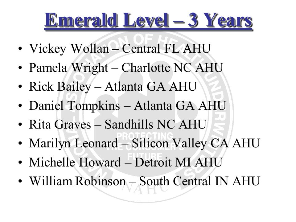 Emerald Level – 3 Years Vickey Wollan – Central FL AHU