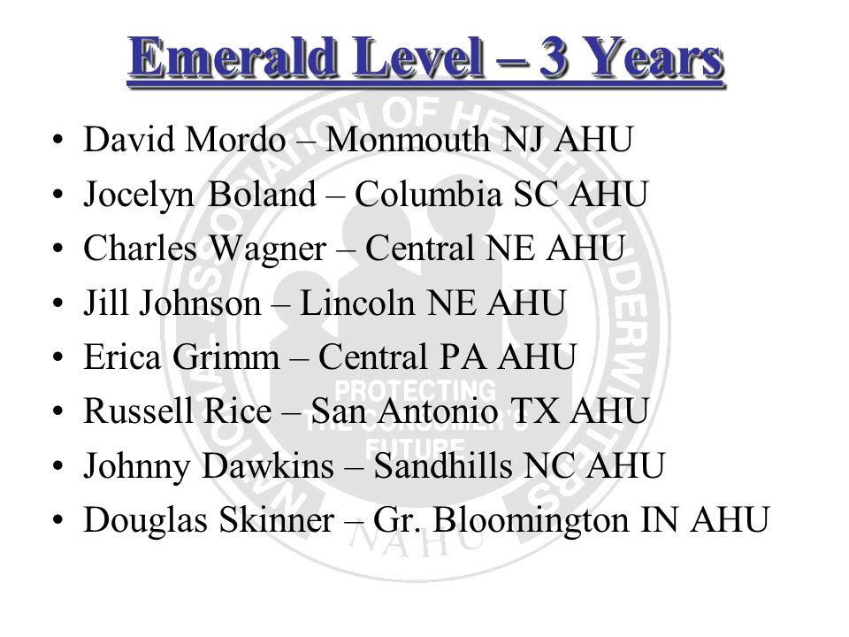 Emerald Level – 3 Years David Mordo – Monmouth NJ AHU