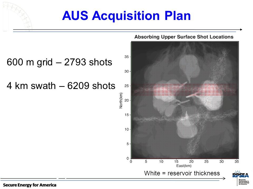 AUS Acquisition Plan 600 m grid – 2793 shots 4 km swath – 6209 shots
