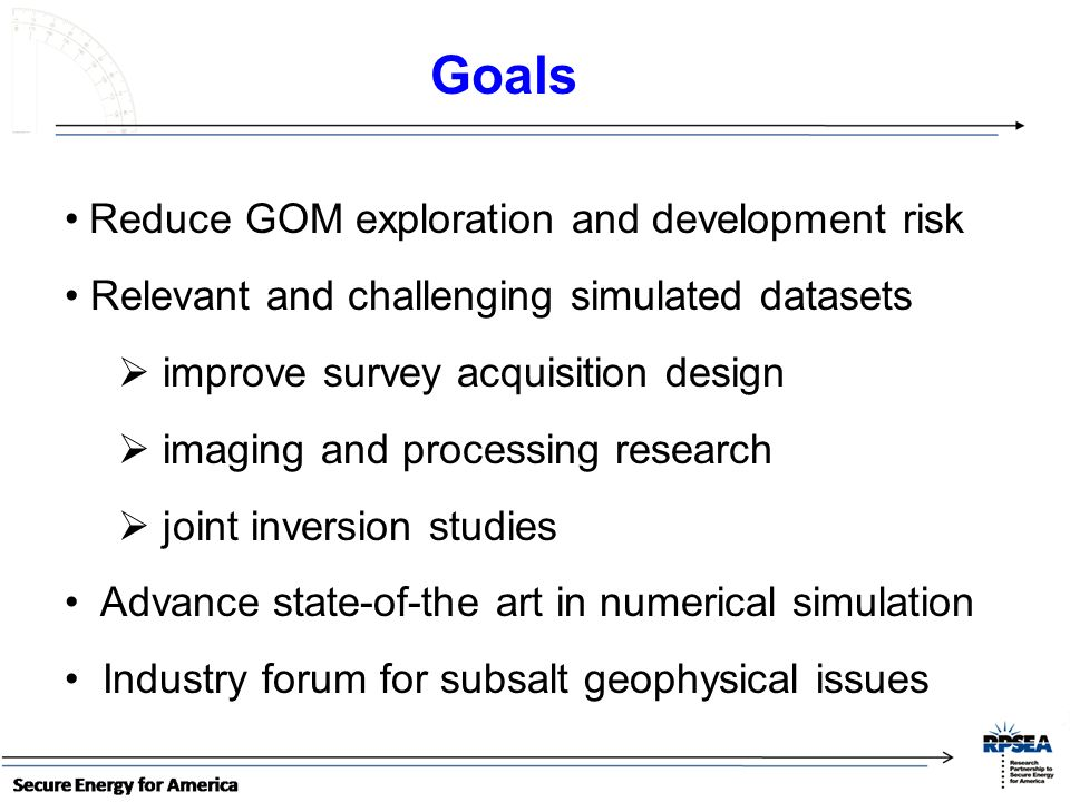 Goals Reduce GOM exploration and development risk