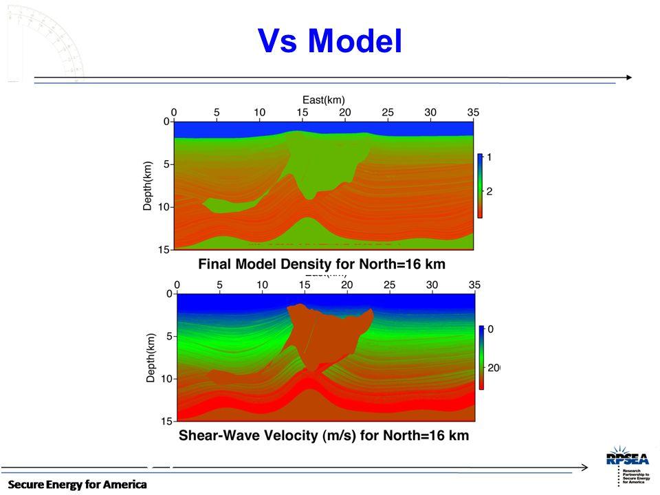 Vs Model ~ 11 km long by ~3 km wide ~ 11 km long by ~3 km wide