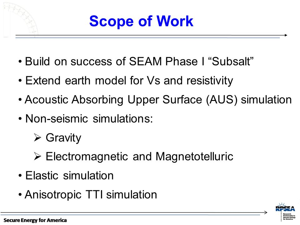 Scope of Work Build on success of SEAM Phase I Subsalt