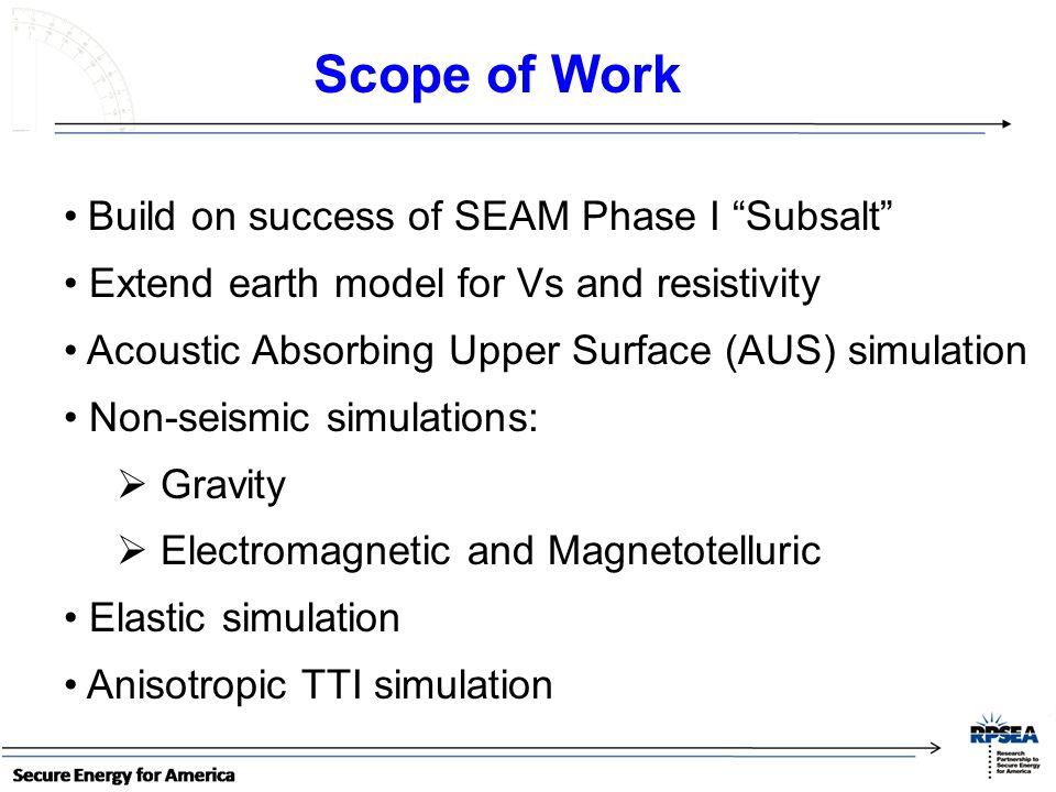 Scope of Work Build on success of SEAM Phase I Subsalt