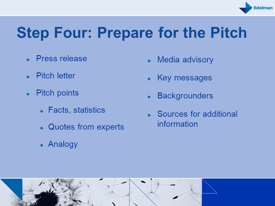 Step Four: Prepare for the Pitch