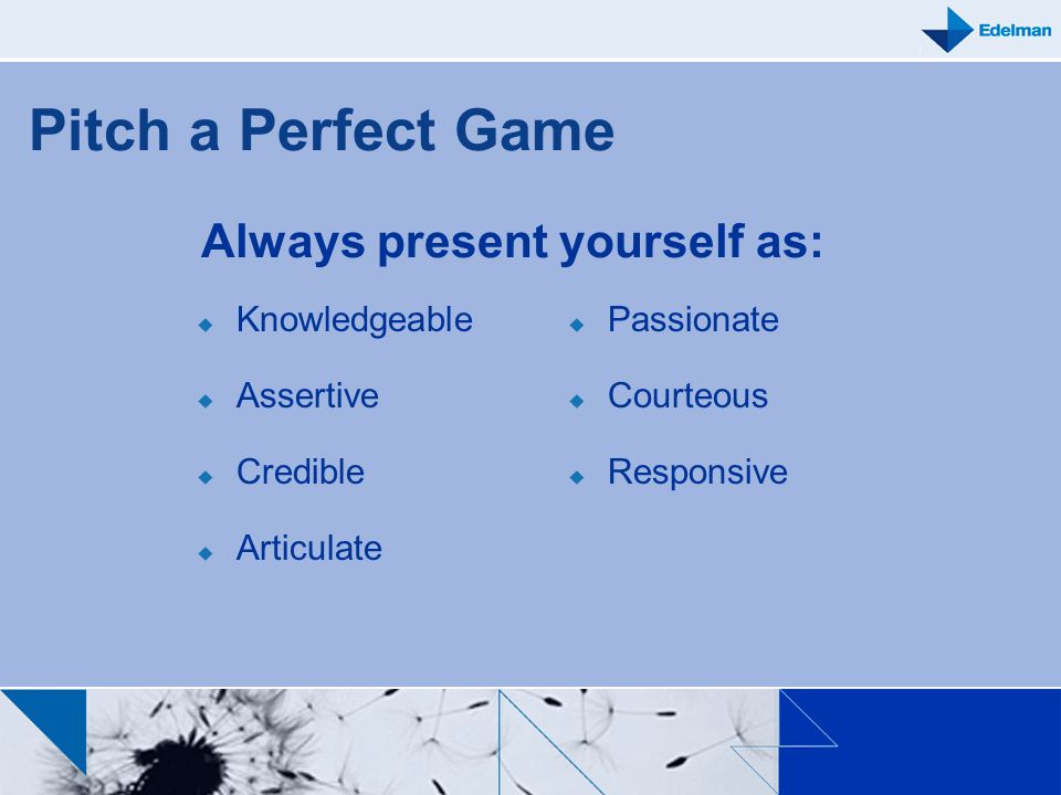 Always present yourself as: