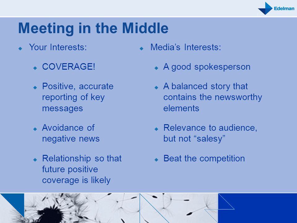 Meeting in the Middle Your Interests: COVERAGE!