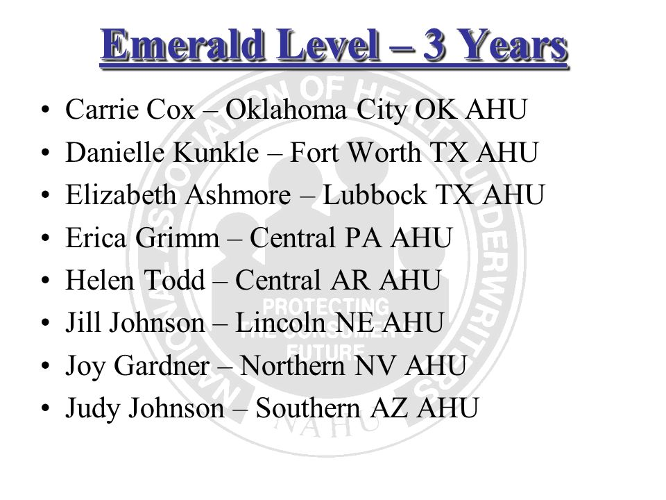 Emerald Level – 3 Years Carrie Cox – Oklahoma City OK AHU