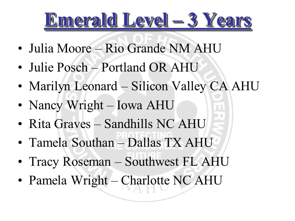 Emerald Level – 3 Years Julia Moore – Rio Grande NM AHU