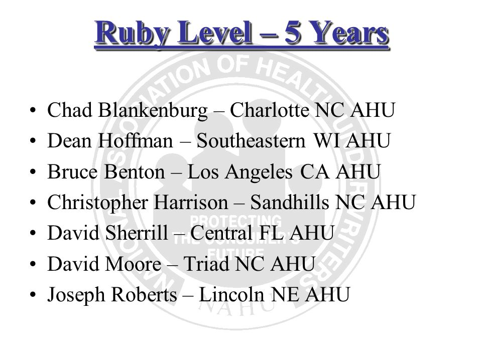 Ruby Level – 5 Years Chad Blankenburg – Charlotte NC AHU