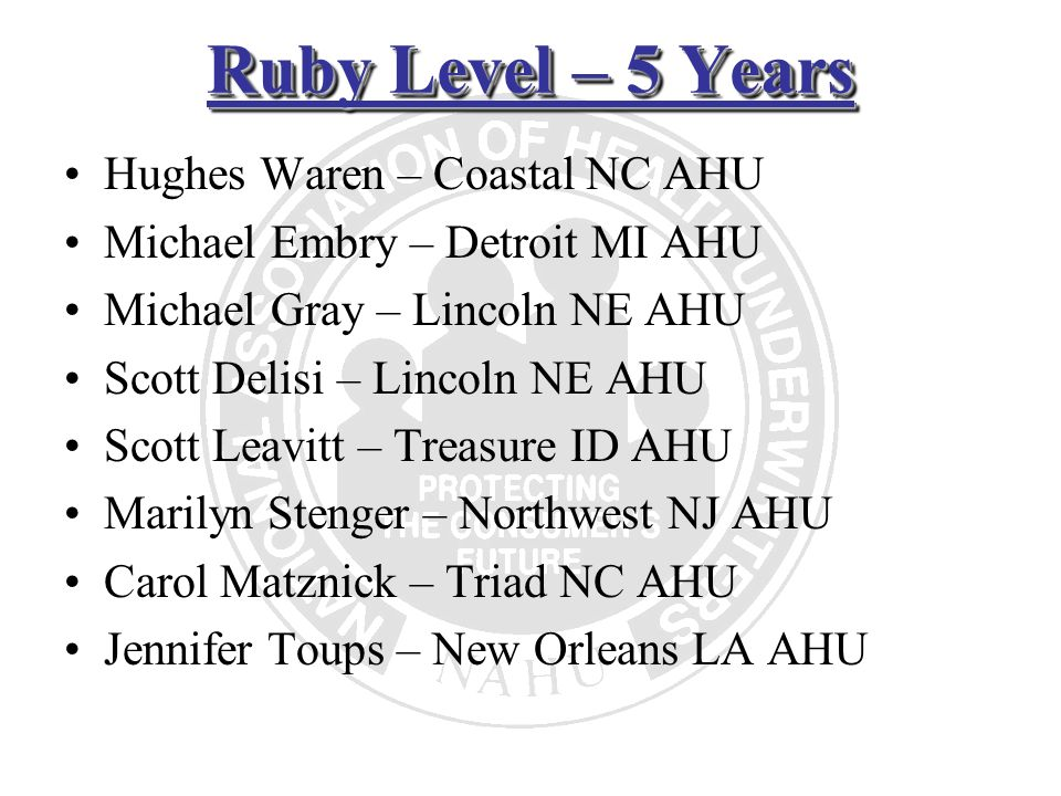 Ruby Level – 5 Years Hughes Waren – Coastal NC AHU