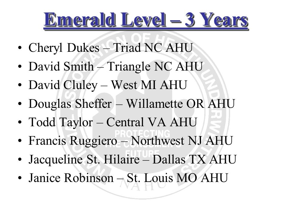 Emerald Level – 3 Years Cheryl Dukes – Triad NC AHU