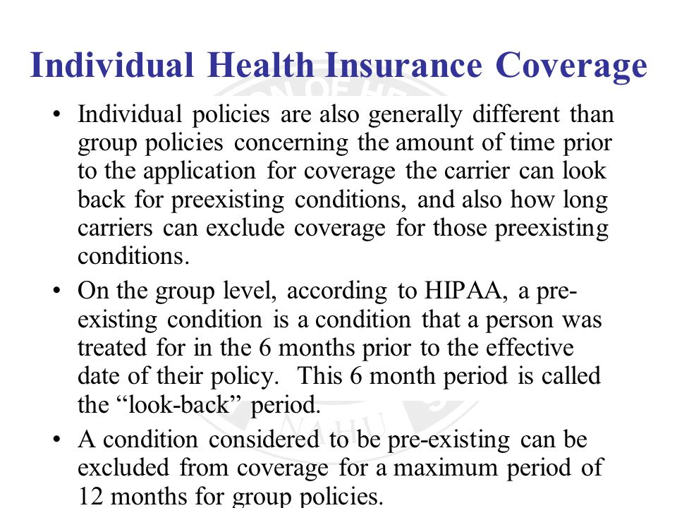 Individual Health Insurance Coverage