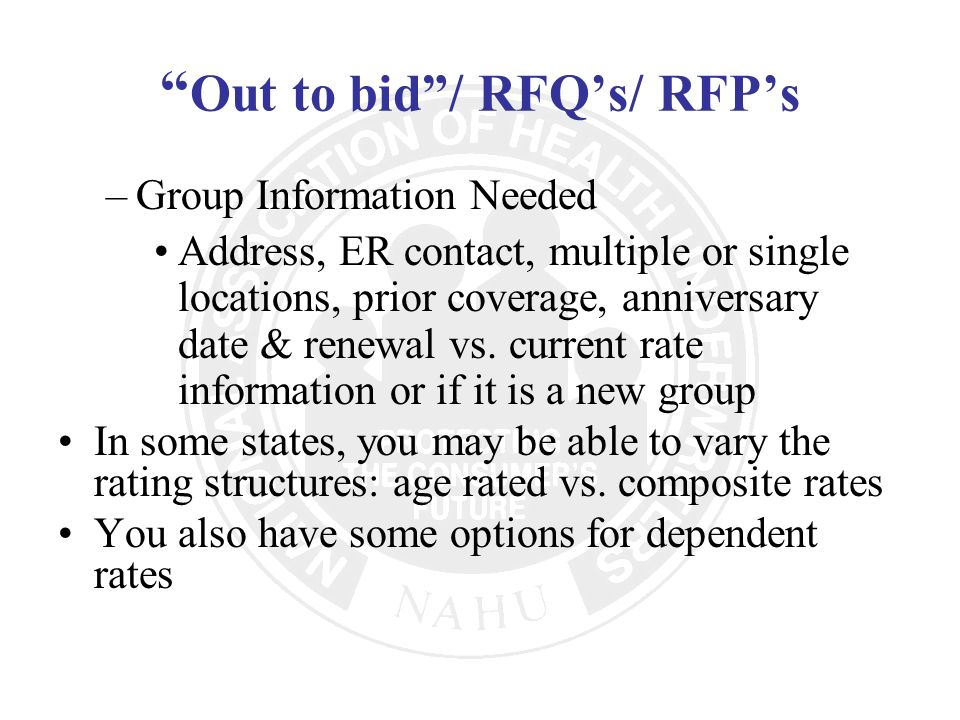 Out to bid / RFQ's/ RFP's