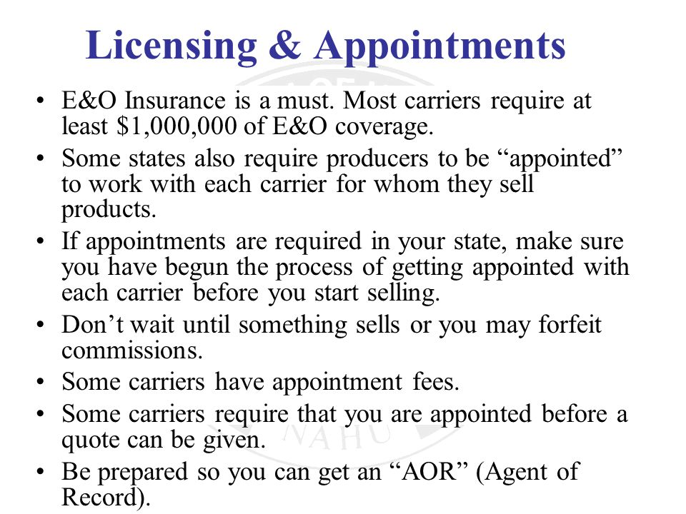 Licensing & Appointments
