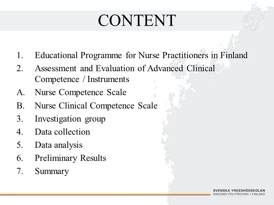 CONTENT Educational Programme for Nurse Practitioners in Finland